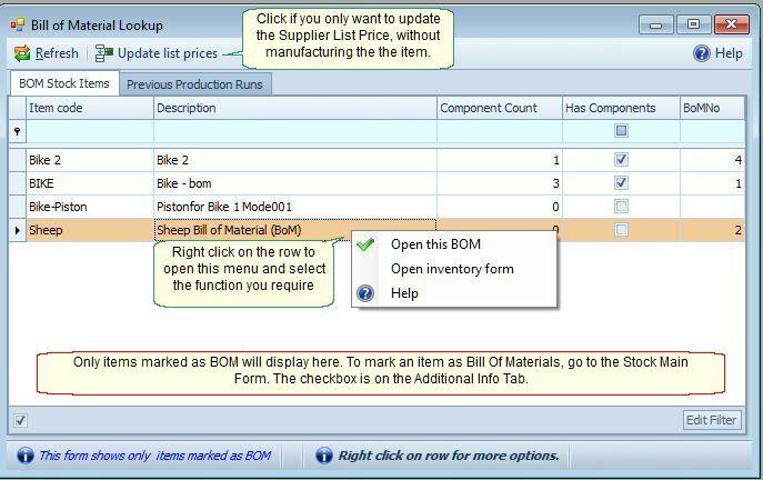 SmartIt Help  Bill Of Materials